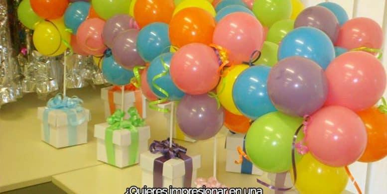 prepara una fiesta con globos de helio